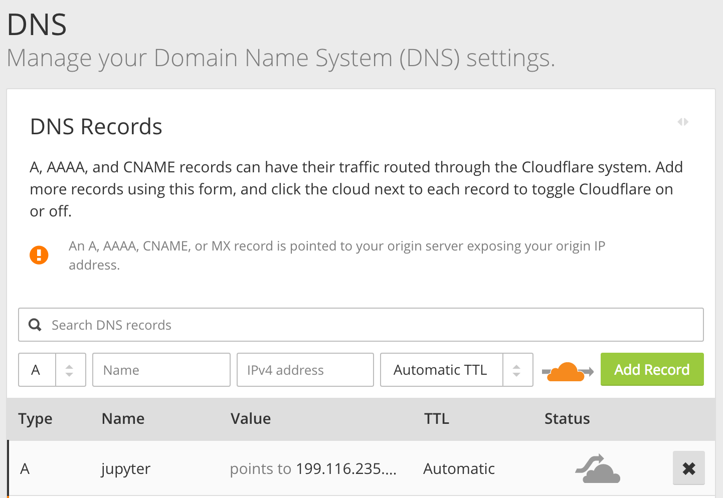 Setting up DNS Record